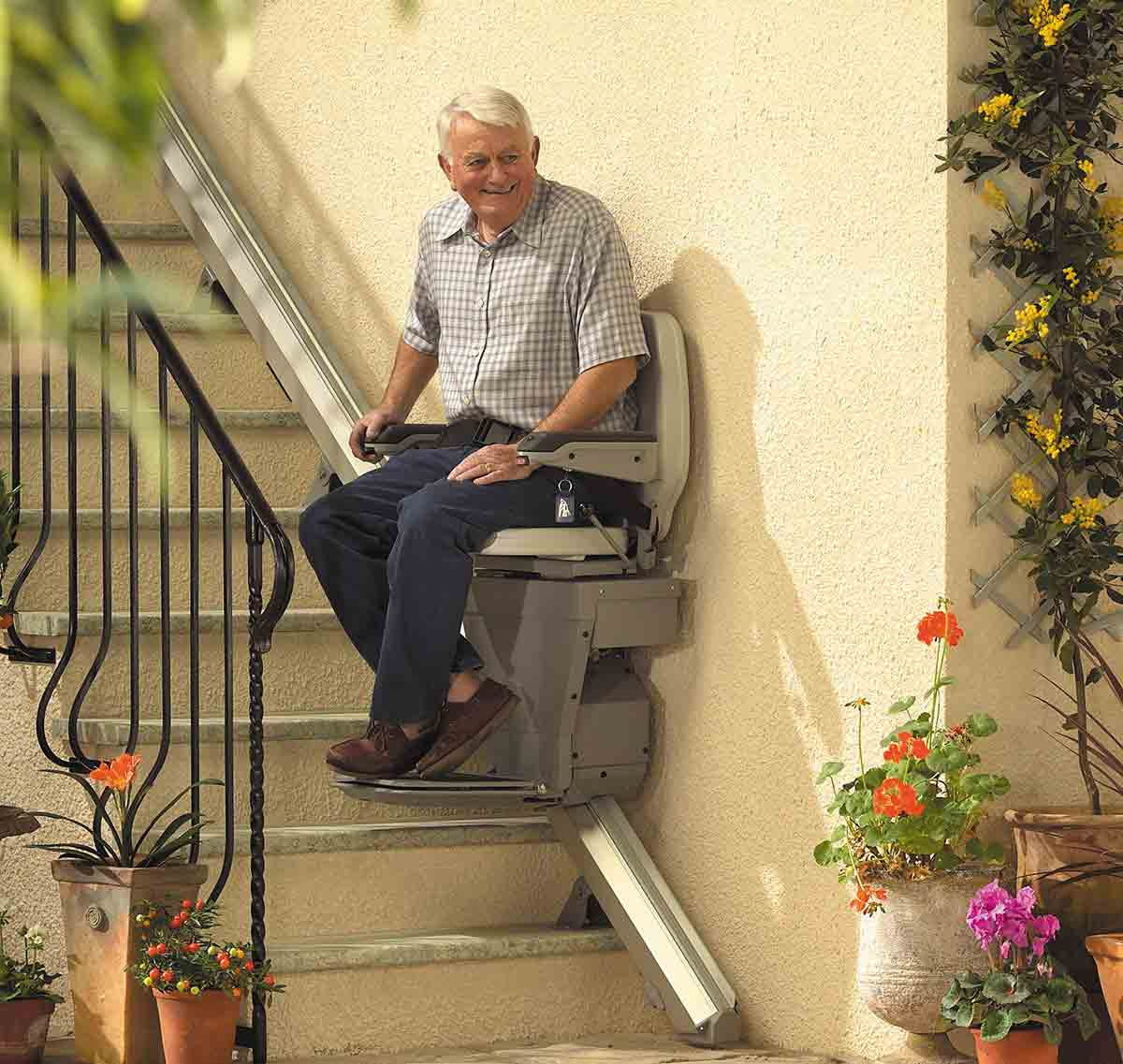 Outdoor stairlift rails
